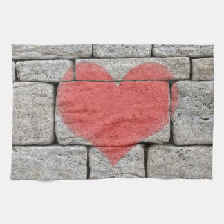 Red Graffiti Heart on Stone Wall Tea Towel