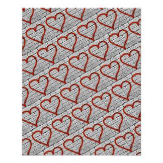 Red Graffiti Hearts Scrapbook Paper 11.5 Cm X 14 Cm Flyer