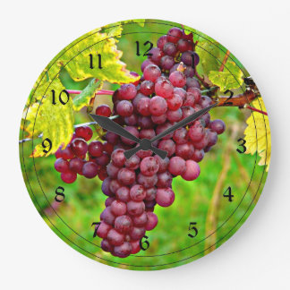Red Grapes on the Vine Large Clock
