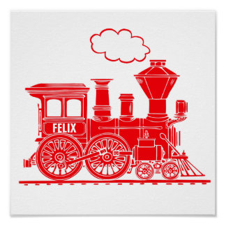 Red graphic train personalized nursery kids art poster