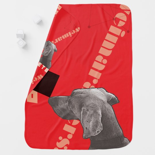 RED GRAPHIC WEIM BABY BLANKET