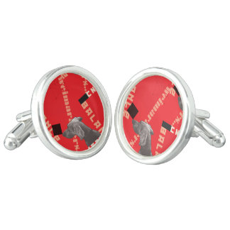 RED GRAPHIC WEIM ROUND CUFFLINKS, SILVER PLATED CUFFLINKS
