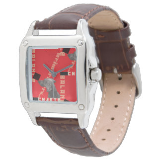 RED GRAPHIC WEIM SQUARE BROWN LEATHER WATCH
