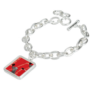 RED GRAPHIC WEIM SQUARE CHARM BRACELET