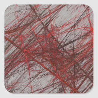 Red Gray Abstract Fractal Square Sticker