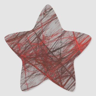 Red Gray Abstract Fractal Star Sticker