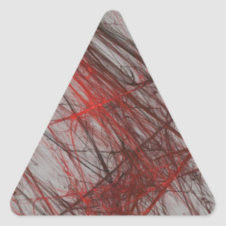 Red Gray Abstract Fractal Triangle Sticker