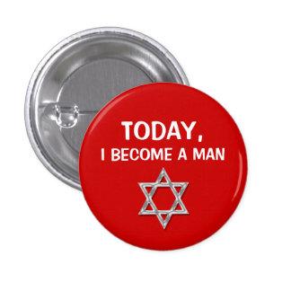 Red gray bar mitzvah celebrations 3 cm round badge