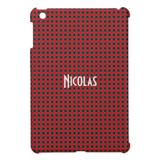 Red Gray Black Gingham Pattern Personalized Name Case For The iPad Mini