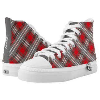 Red Gray Black Gingham Pattern Personalized Name Printed Shoes