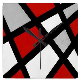 Red gray Black White Geometric Square Wall Clock