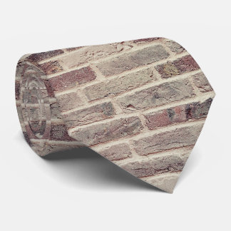 Red Gray Brick Wall Pattern Tie