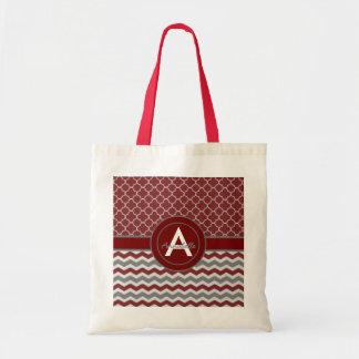 Red Gray Chevron Quatrefoil Tote Bag