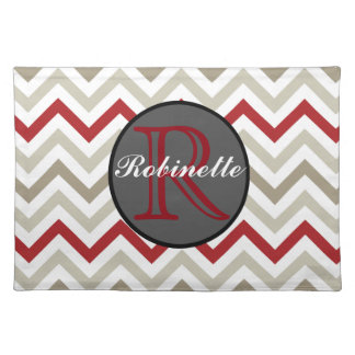 Red & Gray Chevron Stripes Monogrammed Placemat