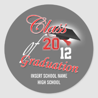 """Red gray """"class of"""" graduation announcement round sticker"""