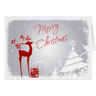 Red, Gray Merry Christmas Trees & Deer Card
