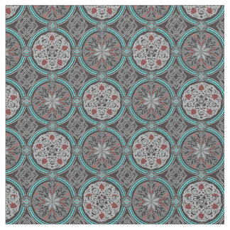 Red, Gray & Teal Damask Style Brocade Fabric