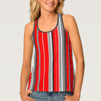 red gray white and black vertical stripes tank top