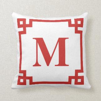 Red Greek Key Border Monogram Cushion