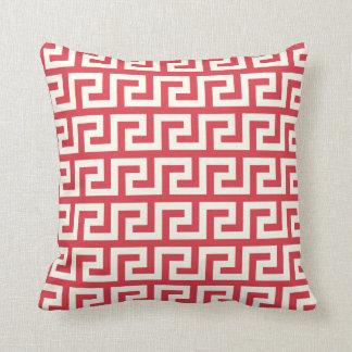 Red Greek Key Throw Pillow