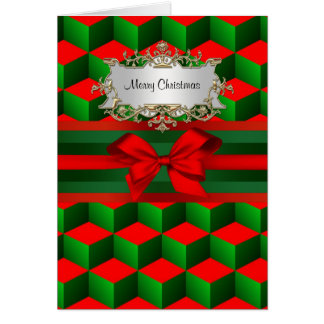 Red & Green 3D Look Cubes Ribbon Christmas Greeting Card