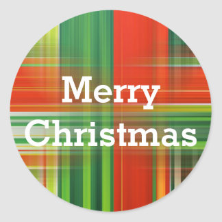 Red Green Abstract Merry Christmas Classic Round Sticker