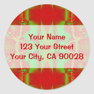 red green abstract round sticker
