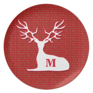 Red Green and a White Reindeer Holiday Plate