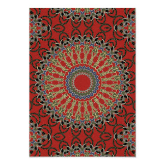 Red, Green and Blue Mandala Crafting Paper 13 Cm X 18 Cm Invitation Card