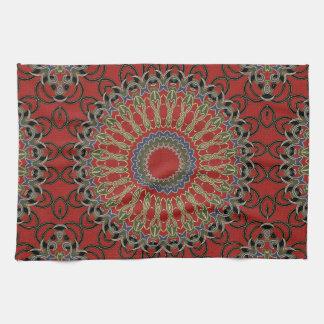 Red, Green and Blue Mandala Tea Towel