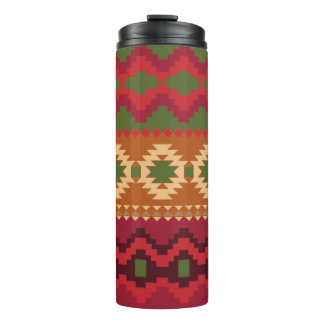Red Green and Gold Aztec Pattern Thermal Tumbler