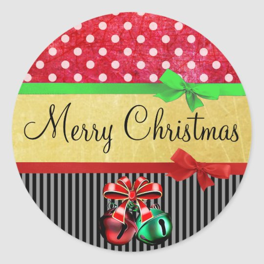 Red, Green and Gold Merry Christmas Bows Stickers