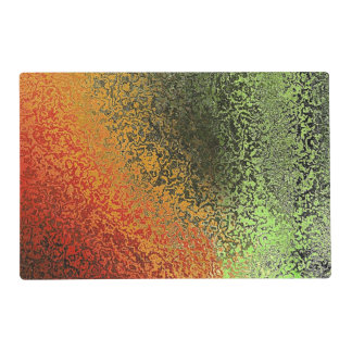 Red Green And Gold Pattern Laminated Place Mat
