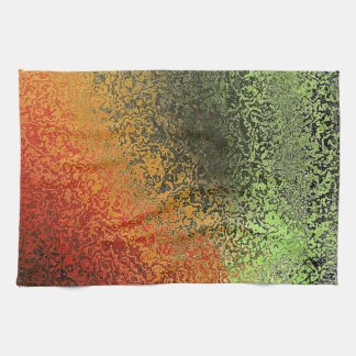 Red Green And Gold Pattern Tea Towel