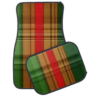 Red Green and Gold Plaid Set of 4 Car Mats