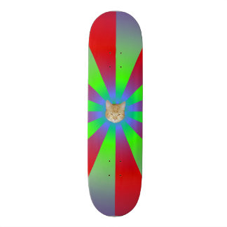 Red Green and Lilac Sunbeams + Cat Skateboard Deck