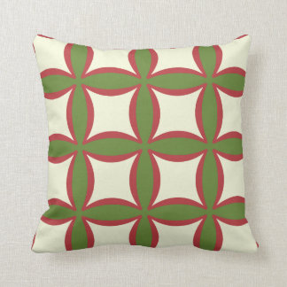 Red, Green And Tan  Pattern Toss Pillows 132 Cushion