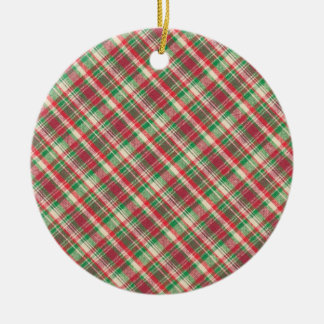 Red Green and White Diagonal Plaid Round Ceramic Decoration