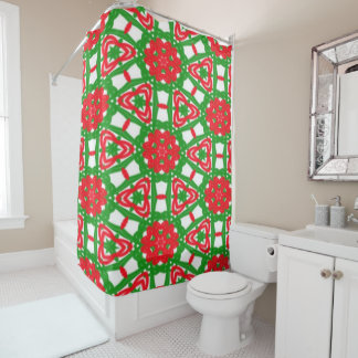 Red, Green and White Kaleidoscope 3372 Shower Curtain