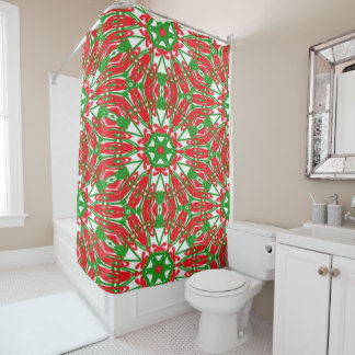 Red, Green and White Kaleidoscope 3376 Shower Curtain