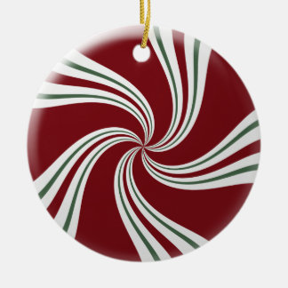 Red Green and White Peppermint Candy Round Ceramic Decoration