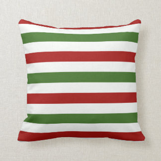 Red, green  and White Stripe Christmas Pillow
