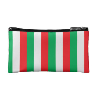 Red, green and white stripes - Italian flag Makeup Bag