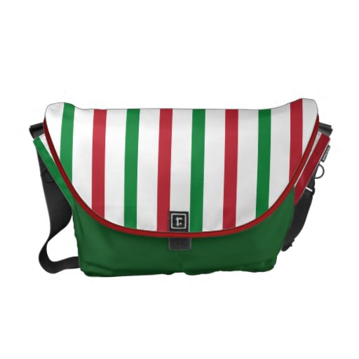 Red, Green, and White Stripes Courier Bag