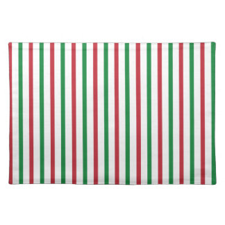 Red Green and White Stripes Place Mat