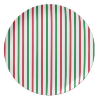 Red, Green, and White Stripes Party Plate