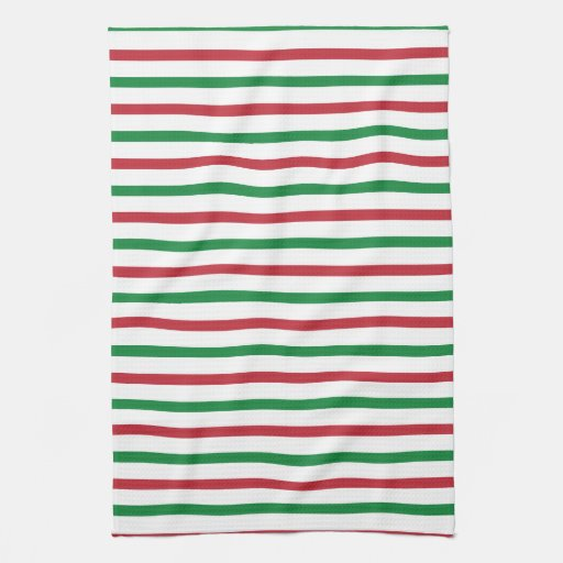 Red, Green, and White Stripes Towels
