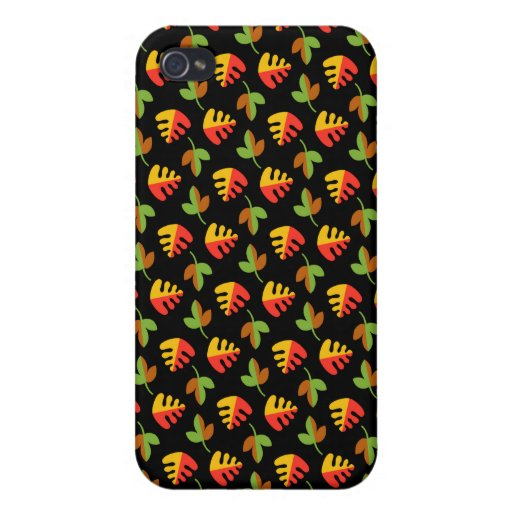 Red Green and Yellow Leaves Pattern Cases For iPhone 4