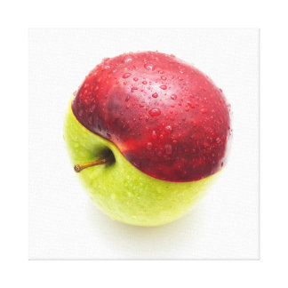 Red green apple stretched canvas print
