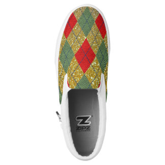 Red Green Argyle Gold Glitter Christmas Sneaker Slip On Shoes